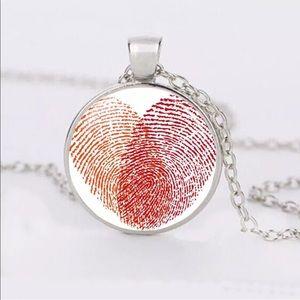 Thumbprint Heart ❤️ Glass/Tibetan Silver Necklace